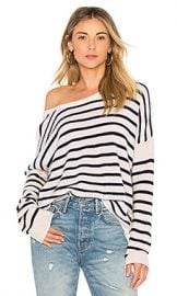 ATM Anthony Thomas Melillo Cashmere Color Block Crew Neck Sweater in Lunar  amp  Navy Stripe from Revolve com at Revolve