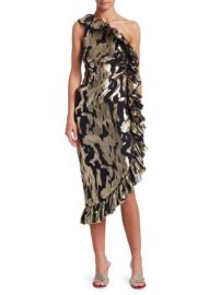 ATTICO - ONE SHOULDER RUFFLE SHEATH DRESS at Saks Fifth Avenue