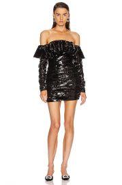 ATTICO Off the Shoulder Mini Dress in Black   FWRD at Forward