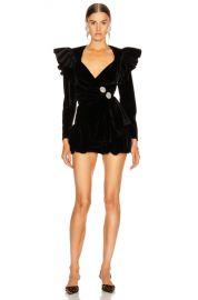 ATTICO Velvet Wrap Ruffle Mini Dress in Black   FWRD at Forward