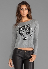 AUTUMN CASHMERE Leopard Intarsia Crew Sweater in Cement Combo at Revolve