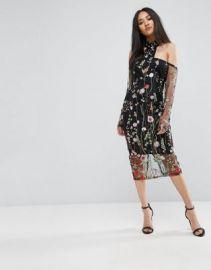 AX Paris T-Bar Long Sleeve Embroidered Floral Choker Dress With 3 4 Mesh Sleeves at asos com at Asos