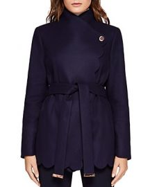 Aastar Scallop Edge Short Wrap Coat at Bloomingdales