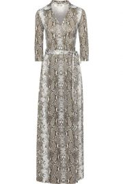 Abigail snake-print silk-jersey maxi wrap dress at The Outnet