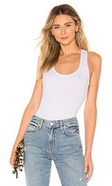 About Us Kira Scoop Tank Bodysuit in White from Revolve com at Revolve
