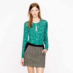 Abstract dot print pleated silk blouse at J. Crew