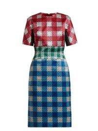 Acacia circle-printed gingham satin dress at Matches