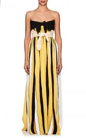Accordion-Pleated Crepe Strapless Gown at Barneys Warehouse