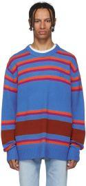 Acne Studios Blue Striped Nimah Sweater at SSENSE