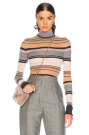 Acne Studios Striped Turtleneck Knit Top in Camel   Grey   FWRD at Forward
