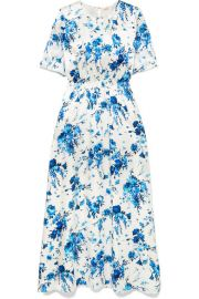 Adam Lippes   Floral-print hammered-silk maxi dress at Net A Porter