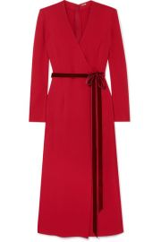 Adam Lippes - Wrap-effect velvet-trimmed crepe midi dress at Net A Porter