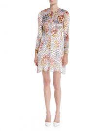 Adam Lippes Long-Sleeve Crewneck Velvet Burnout Mini Cocktail Dress at Bergdorf Goodman