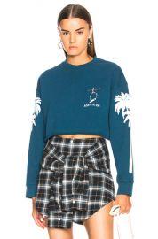 Adaptation Palm Sleeve Crop Sweatshirt in Teal   White   FWRD at Forward