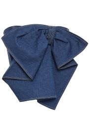 Adeam Cropped strapless bow-detailed denim top at The Outnet