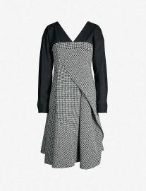 Adeam Houndstooth V-neck Wool-blend Tweed Boucle Dress at Selfridges