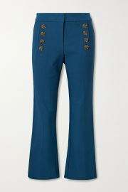Adeline cropped button-embellished stretch-cotton flared pants at Net A Porter