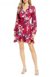 Adelyn Rae Shayne Long Sleeve Floral Faux Wrap Dress   Nordstrom at Nordstrom