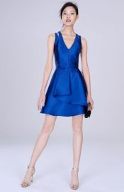 Adelyn Rae Cross Back Twill Fit and Flare Dress at Nordstrom