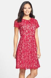 Adrianna Papell Scalloped Lace Dress  Regular  amp  Petite at Nordstrom