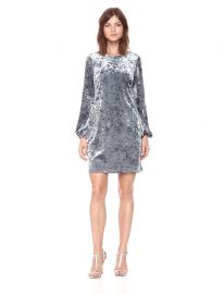Adrianna Papell Women\\\'s Crushed Velvet Shift Dress with Long Bishop Sleeve at Amazon