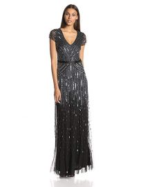 Adrianna Papell Women s Long Beaded V-Neck Dress With Cap Sleeves and Waistband at Amazon