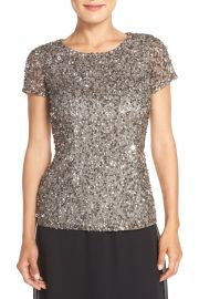 Adrianna Papell   Cap Sleeve Beaded Mesh Blouse   Nordstrom Rack at Nordstrom Rack