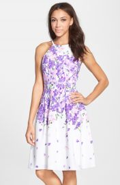 Adrianna Papell  Garden Party  Print Crepe Fit   Flare Dress at Nordstrom