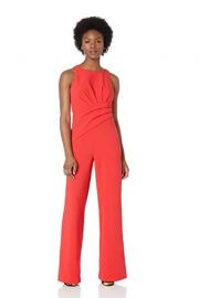 Adrianna Papell  Racer Neckline Draped Jumpsuit at Amazon
