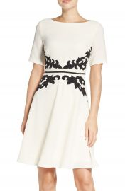 Adrianna Papell Appliqu   Waist Crepe Fit   Flare Dress at Nordstrom