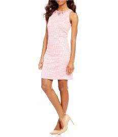 Adrianna Papell Beaded Neck Onassis Tweed Shift Dress at Dillards
