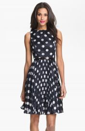 Adrianna Papell Burnout Polka Dot Fit   Flare Dress  Regular   Petite at Nordstrom