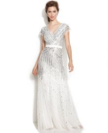 Adrianna Papell Cap-Sleeve Sequined Gown - Dresses - Women - Macys at Macys