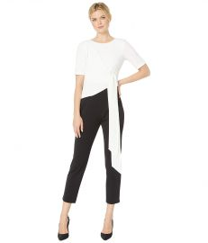 Adrianna Papell Color Block Knit Crepe Jumpsuit at Zappos