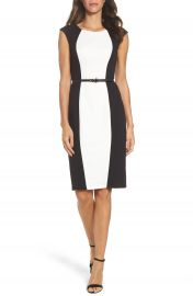 Adrianna Papell Colorblock Crepe Sheath Dress at Nordstrom