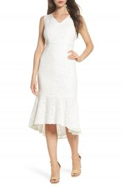 Adrianna Papell Cynthia Lace Flounce Hem Sheath Dress at Nordstrom