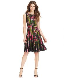 Adrianna Papell Fractured Floral-Print Dress at Macys
