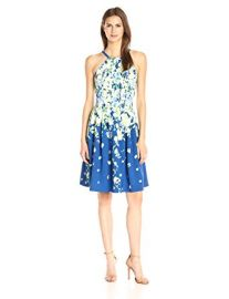 Adrianna Papell Garden Party Placed Floral Print Dress at Amazon