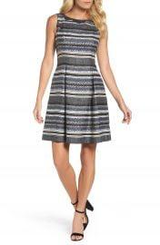 Adrianna Papell Herringbone Stripe Fit   Flare Dress at Nordstrom