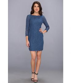 Adrianna Papell LS Lace Dress Night at Zappos