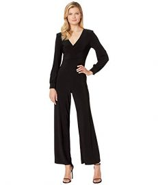 Adrianna Papell Matte Jersey Draped Jumpsuit with V-Neckline and Long Sleeve at Zappos