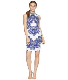 Adrianna Papell Petite Lace Printed Mock Neck at Zappos
