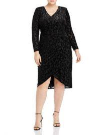 Adrianna Papell Plus Metallic-Velvet-Burnout Faux-Wrap Dress Women -  Plus - Bloomingdale s at Bloomingdales