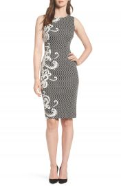 Adrianna Papell Scroll Border Knit Sheath at Nordstrom