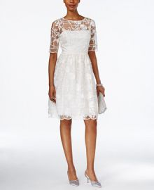 Adrianna Papell Short-Sleeve Floral-Embroidered A-Line Dress at Macys