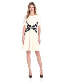 Adrianna Papell Short Sleeve Waist Detail Fit and Flare Dress at Amazon