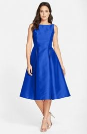 Adrianna Papell Sleeveless Mikado Fit and Flare Midi Dress at Nordstrom