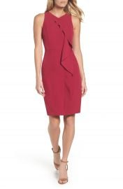 Adrianna Papell Stretch Crepe V-Neck Sheath at Nordstrom
