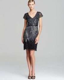 Adrianna Papell V Neck Beaded Dress at Bloomingdales