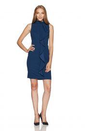 Adrianna Papell Women\'s Knit Crepe Mock Neck Sheath Dress Petite at Amazon